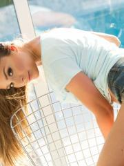 Hot teen Lily Chey strips for you in the sunlight