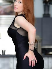 Lucy Ohara looks super sexy in her tight black dress in stockings