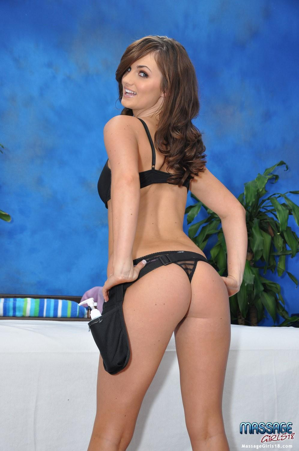 Hot 18 year old brunette gves MORE than just a massage ...