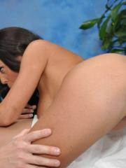 Naughty girl Rahynde fucks her massage client after a rub down