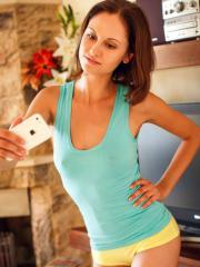 """Brunette coed Sade Mare reveals her hot tight body in """"Poseula"""""""