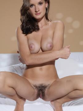 Pictures of brunette girl Alina H showing her hairy bush
