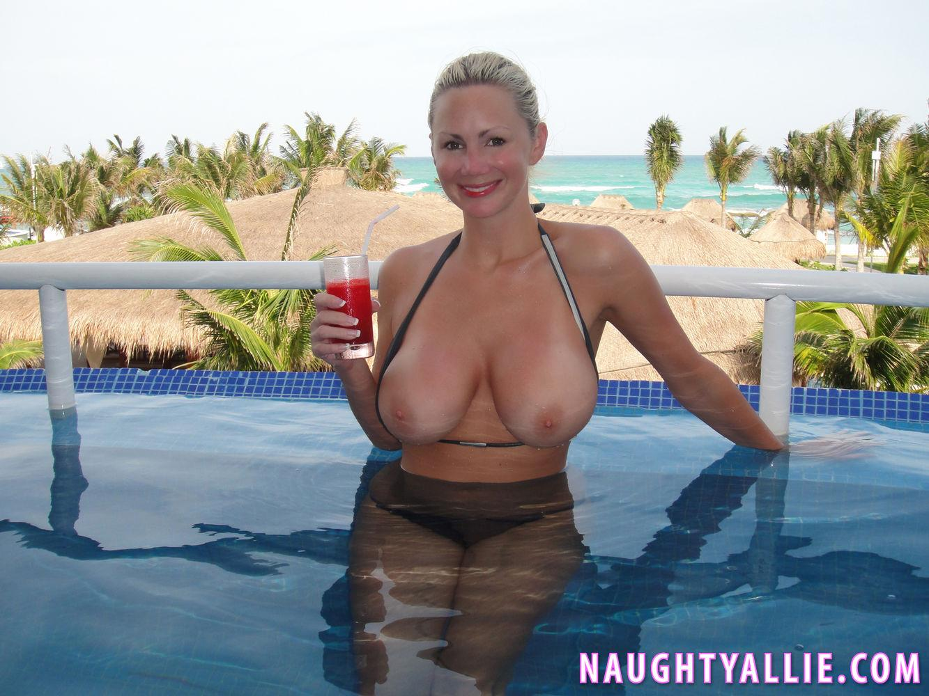 Naughty Allie Gets Fully Nude At A Public Swimming Pool -6821