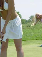 Naughty Allie and her friends have a lesbian orgy on the golf club