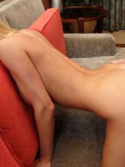 Blonde babe Allie puts out on the couch