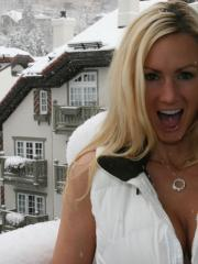 Busty blonde Naughty Allie masturbates after coming in from the snow