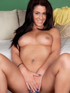 Brunette coed Riley Grey strips for you in bed
