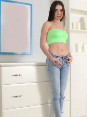 Brunette teen Katy strips out of her jeans and gives you her tight pussy