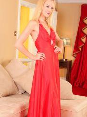 Stunner Joceline teases her way out of her red evening dress.