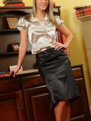 What a wonderful secretary Candice makes dressed in silk and satin