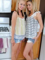 Tiny Tiff and her blonde friend hook up in the kitchen for some whipped cream fun