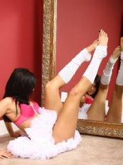 Pictures of Raven Riley working on her dance moves