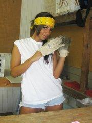 Pictures of Raven Riley doing some home renovations