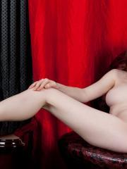 Brunette beauty Emily Bloom strips nude and shows you her tight pussy
