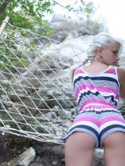 "Beautiful blonde teen Nika N gives you her amazing body outside in ""Sambe"""