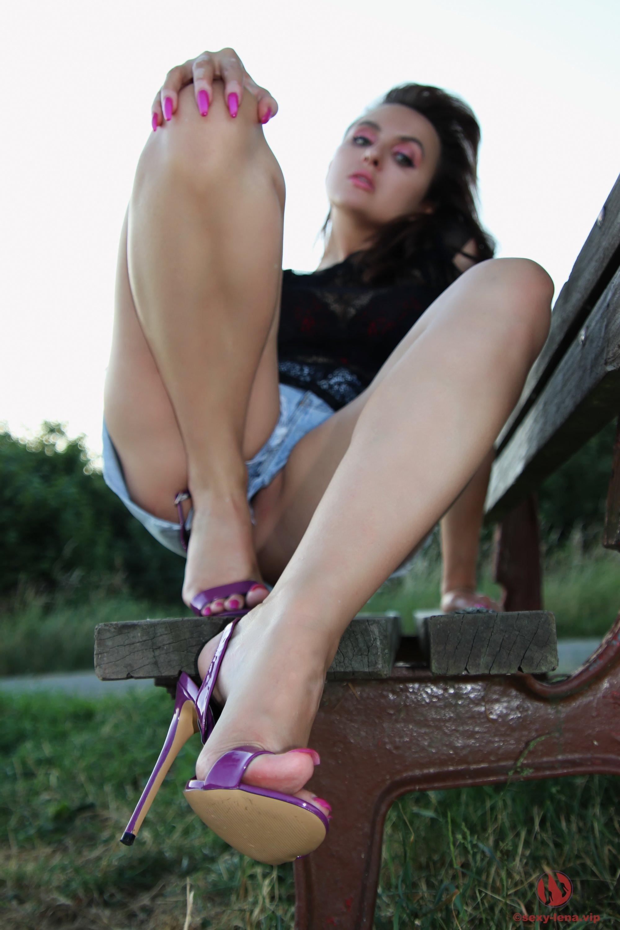 Sexy Lena Shows Legs And Feet On Park Bench  Coed Cherry-6978