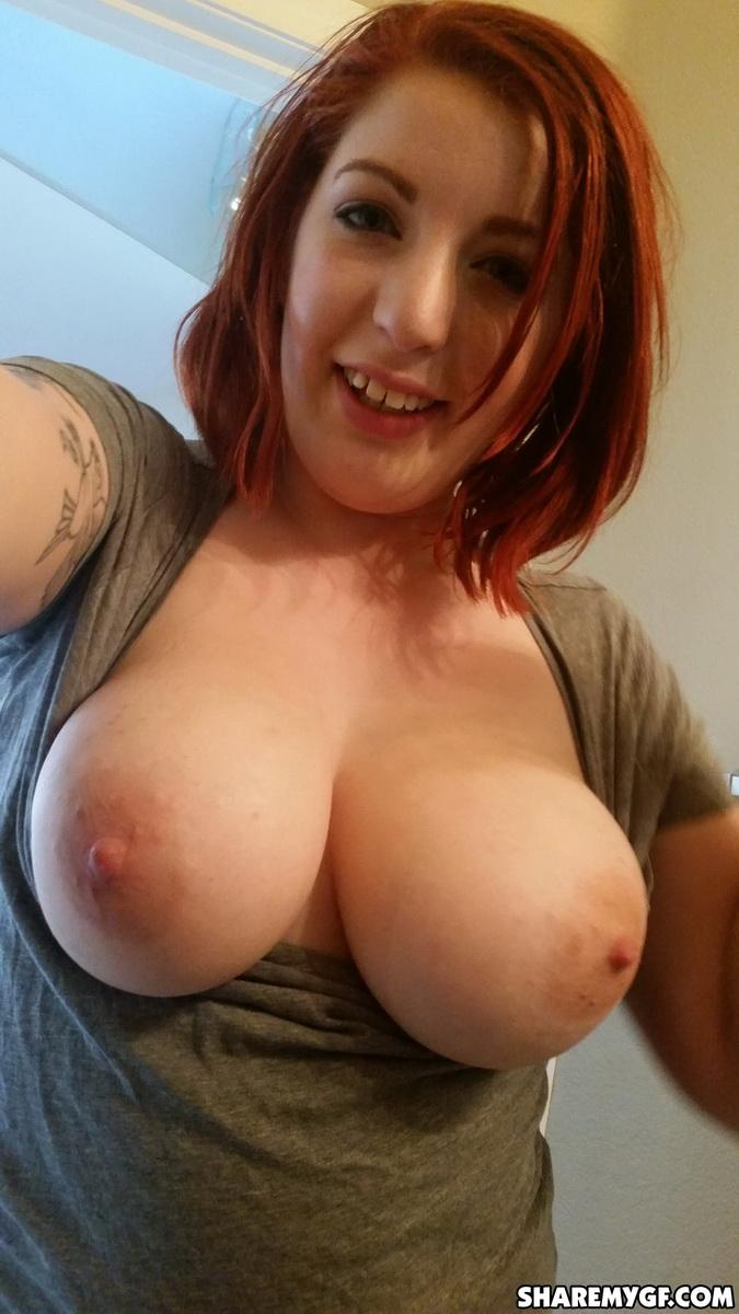 Busty Redhead Gf Shows Off Her Big Natural Tits As She -2473