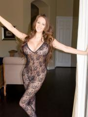 Pictrues of Talia Shepard strutting around in crotchless lace