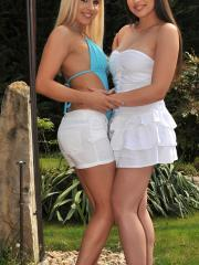 Horny girls Zafira, Sophie and Brandy enjoy some hot lesbian action outside