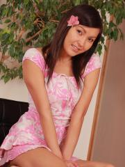 Asian teen Agnes strips naked for you