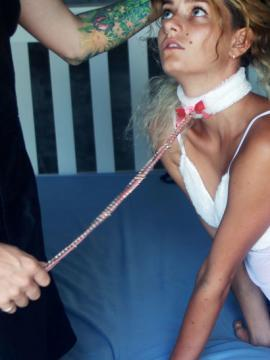 Blonde hottie gets tied up and bound for your pleasure