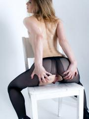 Blonde babe Kerry has some fun in her pantyhose