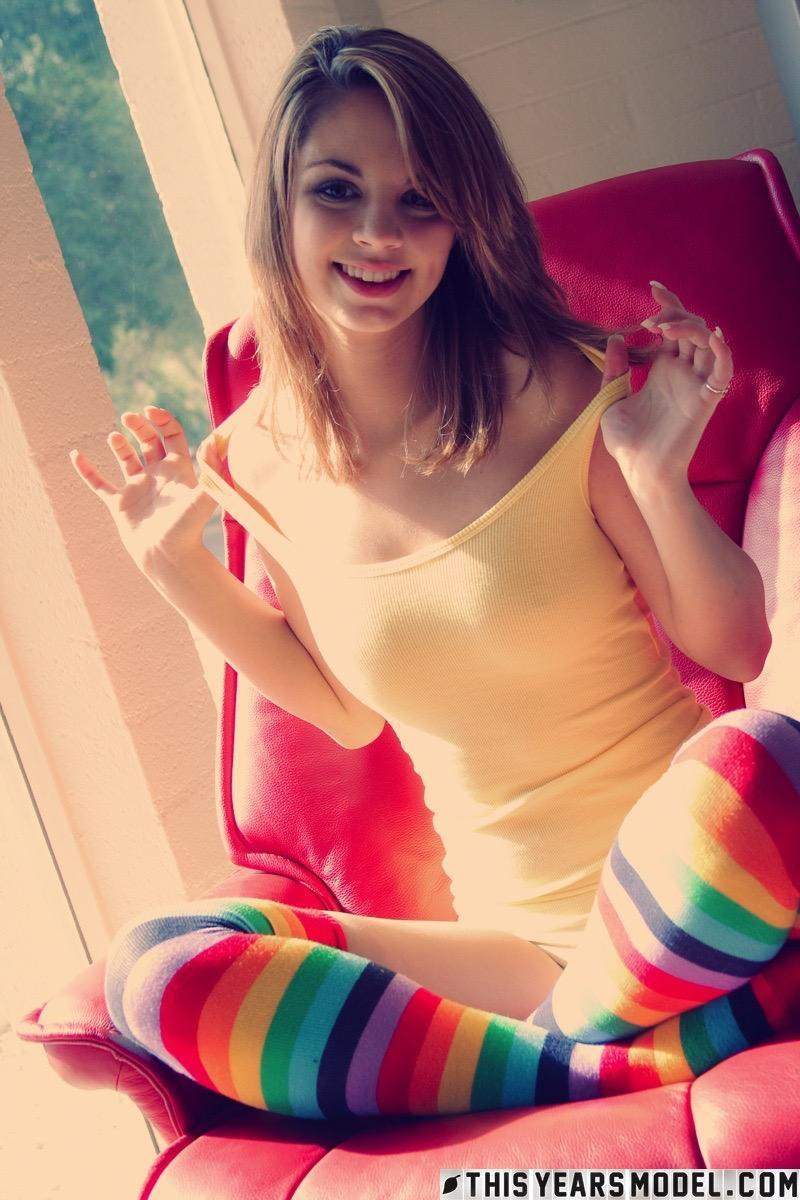 image Teen striped socks and beautiful blonde