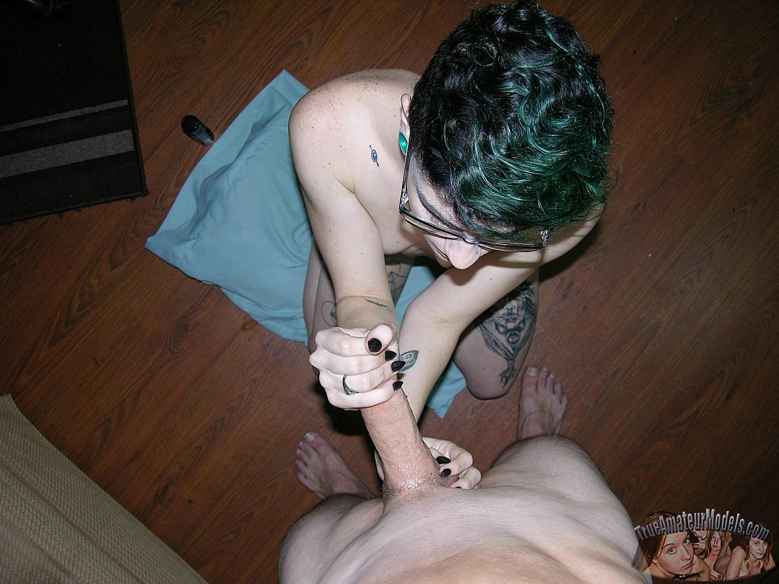 Emo Girl In Glasses Gives A Handjob And Takes A Facial -7393