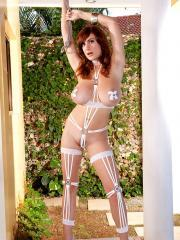 Busty girl Valory Irene teases in her white lingerie and pasties