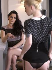 "Horny girls Misha Cross and Dolly Diore pleasure each other in ""Dominated"""
