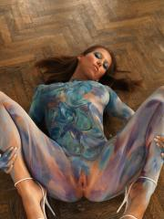 "Lizzie Ryan wears nothing but latex paint in ""Christmas Gift"""