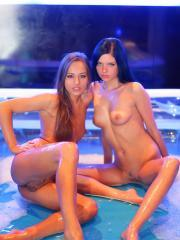 """Amazing teens Monika and Dominika get all oiled up together in """"Play Unlawfully"""""""