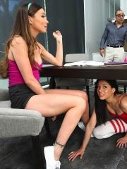 Study buddies Capri Anderson and Shyla Jennings get horny during their study session
