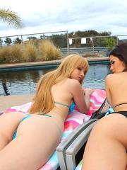 Lesbian teens Jayme Langford and Vanessa Veracruz get each other off by the pool