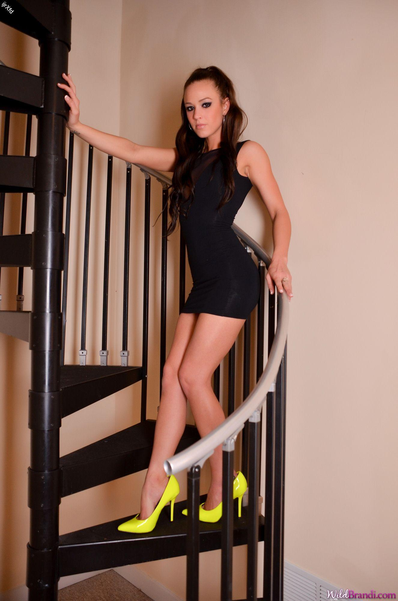 Stripteasing on the stairs
