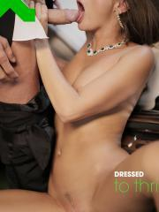 Beautiful brunette Caprice enjoys some passionate sex in her evening wear