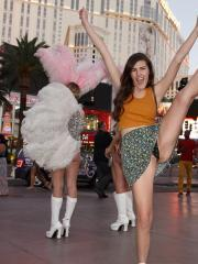 Naughty coed Murphy Ott flashes up her skirt in public