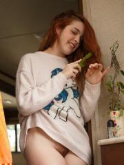 Redhead teen Amarna Miller teases in various clothes
